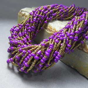Gold and Purple Glass Beaded Necklace Multi Strand
